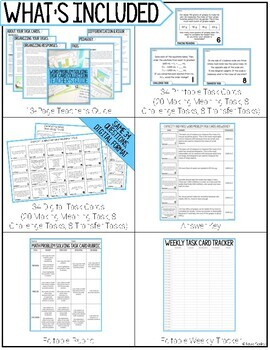 Math Problem Solving Task Cards: Capacity & Mass Measurement Word Problems