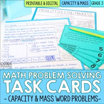Capacity & Mass Measurement Word Problem Solving Task Cards for ...
