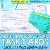 3rd Grade Capacity & Mass Measurement Word Problem Task Ca