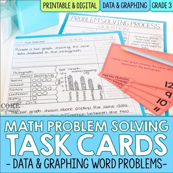 Math Problem Solving Task Cards: Data and Graphing Word Problems