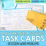 Division Word Problem Solving Task Cards for Third Grade Math