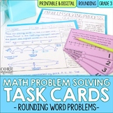 Rounding & Place Value Word Problem Solving Task Cards for Third Grade Math