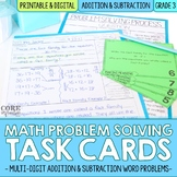 Third Grade Addition & Subtraction Word Problem Task Cards