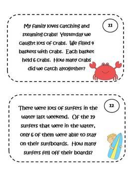 Math Problem Solving Task Cards - beach theme