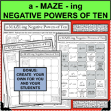NEGATIVE POWERS OF TEN EXPONENTS A-MAZE-ING Super Fun Activity!