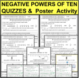 NEGATIVE POWERS OF TEN QUIZZES 4 Differentiated Versions + FUN ACTIVITY!