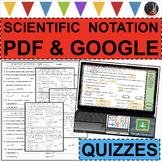 SCIENTIFIC NOTATION / STANDARD QUIZZES 4 Differentiated Versions + FUN ACTIVITY!