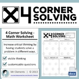 4 Corner Solving - Math Worksheet