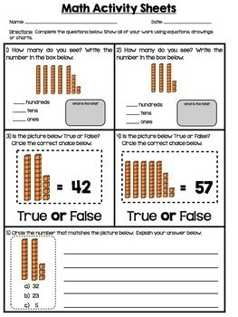 Place Value | Number Sense | 1st Grade Print and Practice
