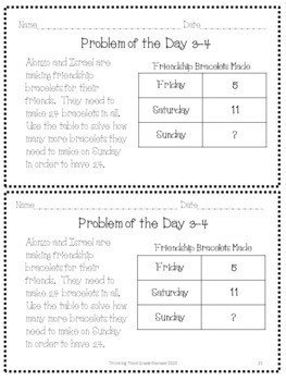 Problem of the Day 1st Six Weeks 3rd 4th TEKS CCSS aligned