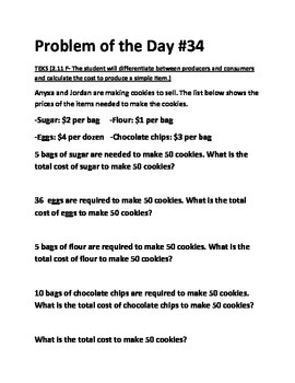 Math Problem of the Day-2.11A Personal Financial Literacy