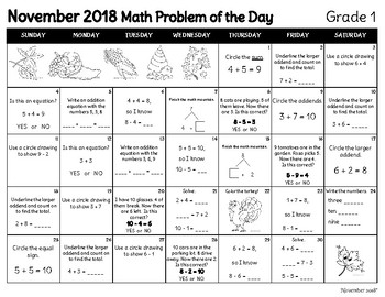 Math Problem of the Day Calendar: November 2018