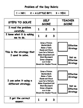 Math Problem of the Day Rubric