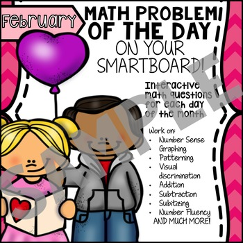 FREE - SmartBoard Math Problem of the Day - Valentine's Day, 100 Day Sample