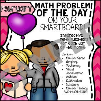 FREE - SmartBoard Math Problem of the Day - Valentine's Da