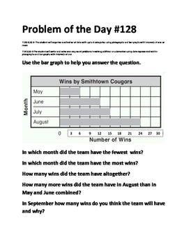 Math Problem of the Day-TEK 2.10B 2.10C (Pictographs, Bar Graphs)