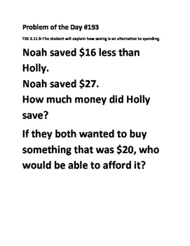 Math Problem of the Day (TEK 2.11B) Saving Money