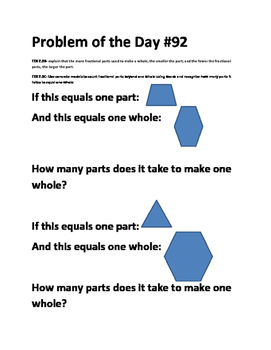 Math Problem of the Day-TEK 2.3C (Fractions)