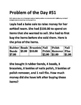 Math Problem of the Day (TEK 2.4C)