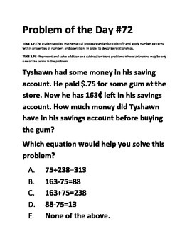 Math Problem of the Day (TEK 2.7C)-Algebraic Reasoning