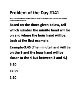 Math Problem of the Day (TEK 2.9G) (Telling Time)