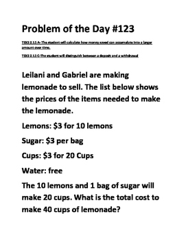 Math Problem of the Day TEKS 2.11A TEKS 2.11C (Financial Literacy)