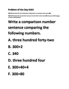 Math Problem of the Day-TEKS 2.2B, 2.2D (Place Value Form and Compare)