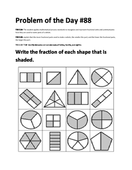 Math Problem of the Day-TEKS 2.3A, 2.3B, 2.3D (Fractions)