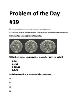 Math Problem of the Day (TEKS 2.5AB-Counting Coins) (5 Days)