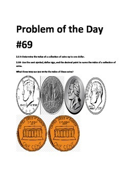 Math Problem of the Day-TEKS 2.5AB (Writing Coin Values)