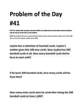 Math Problem of the Day-TEKS 2.7BC