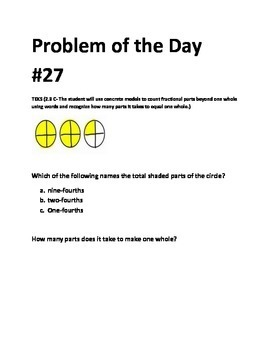 Math Problem of the Day TEKS 2.3C TEKS 2.3B Fractions