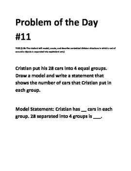 Math Problem of the Day- TEKS 2.6b Division (5 days)