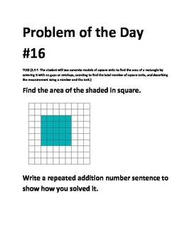 Math Problem of the Day-TEKS 2.9F Area Whole Week