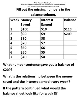 Math Problem of the Day (Volume 2)-TEKS 2.11AC (Deposit and Withdrawal)