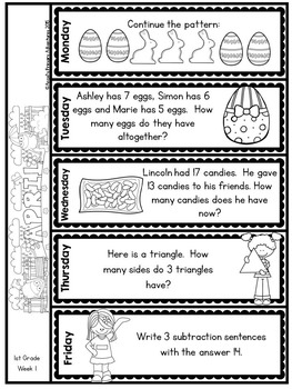 Math Problem of the Day for First Grade:  April