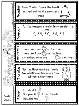 Math Problem of the Day for Grade 1:  December (Canadian Edition)