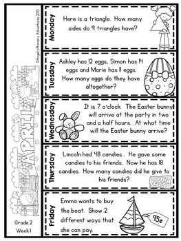 Math Problem of the Day for Grade 2:  April (Canadian Edition)
