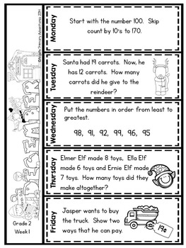Math Problem of the Day for Grade 2:  December (Canadian Edition)