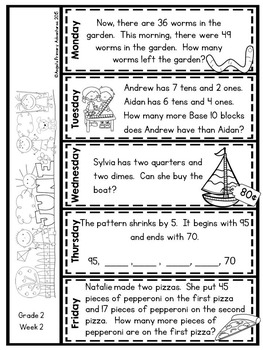 Math Problem of the Day for Grade 2:  June (Canadian Edition)