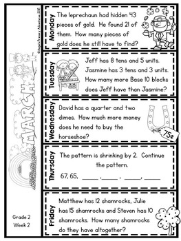 Math Problem of the Day for Grade 2:  March (Canadian Edition)