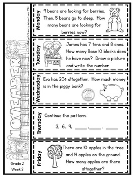 Math Problem of the Day for Grade 2:  November (Canadian Edition)