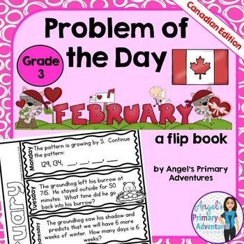 Math Problem of the Day for Grade 3:  February (Canadian Edition)