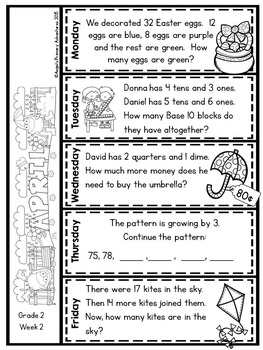 Math Problem of the Day for Second Grade:  April