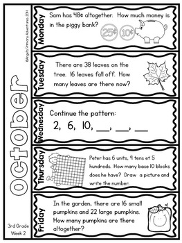 Math Problem of the Day for Third Grade:  October