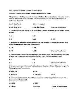 Math Problems Worksheet for Foods/Principles of Human Services