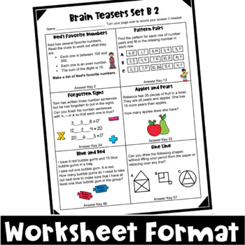 Math Task Cards: Math Problems and Math Brain Teasers Cards Set B