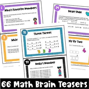 Math Task Cards: Math Problems and Math Brain Teasers Cards Set C