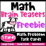 Math Task Cards: Math Problems and Math Brain Teasers Freebie