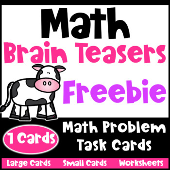 Math Task Cards: Math Problems and Math Brain Teasers Freebie